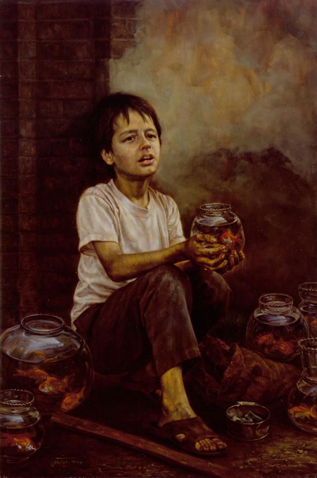 Fishmonger: ১৯৯৬ সালে তেলরঙে এঁকেছেন ক্যানভাসে