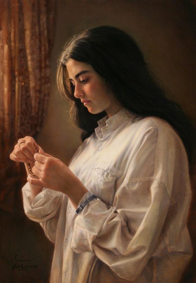 A girl by the window : ক্যানভাসে তেল রঙে আঁকা ছবিটি ২০০০ সালে আঁকা