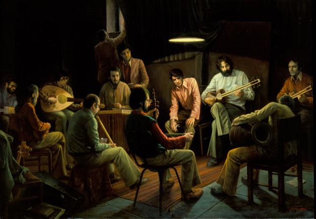 Composing music secretly: তেলরঙে ক্যানভাসে আঁকা ১৯৯৬ সালে