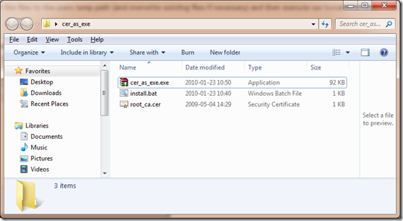 How to distribute root certificates as exe files | Bots!