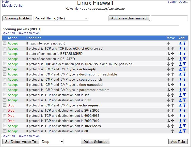 Image result for webmin linux firewall rules