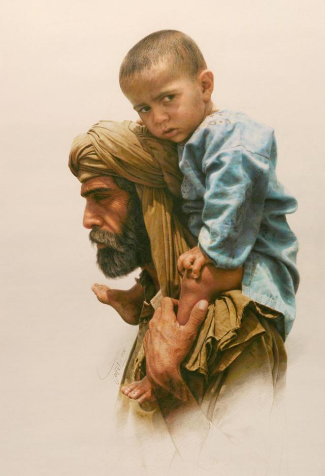 Emigrant: কাগজে কালার পেন্সিলে, আঁকা ২০০৩ সালের