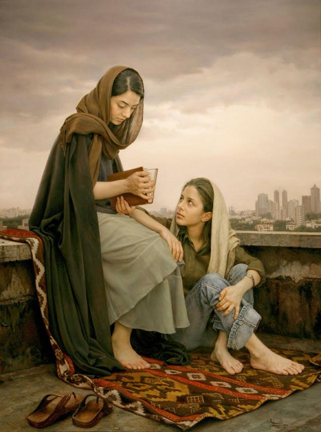 Omens of Hafez: তেলরঙে ক্যানভাসে আঁকা; এঁকেছেন ২০০৩ সালে